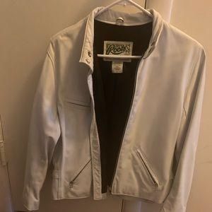 White leather bomber jacket